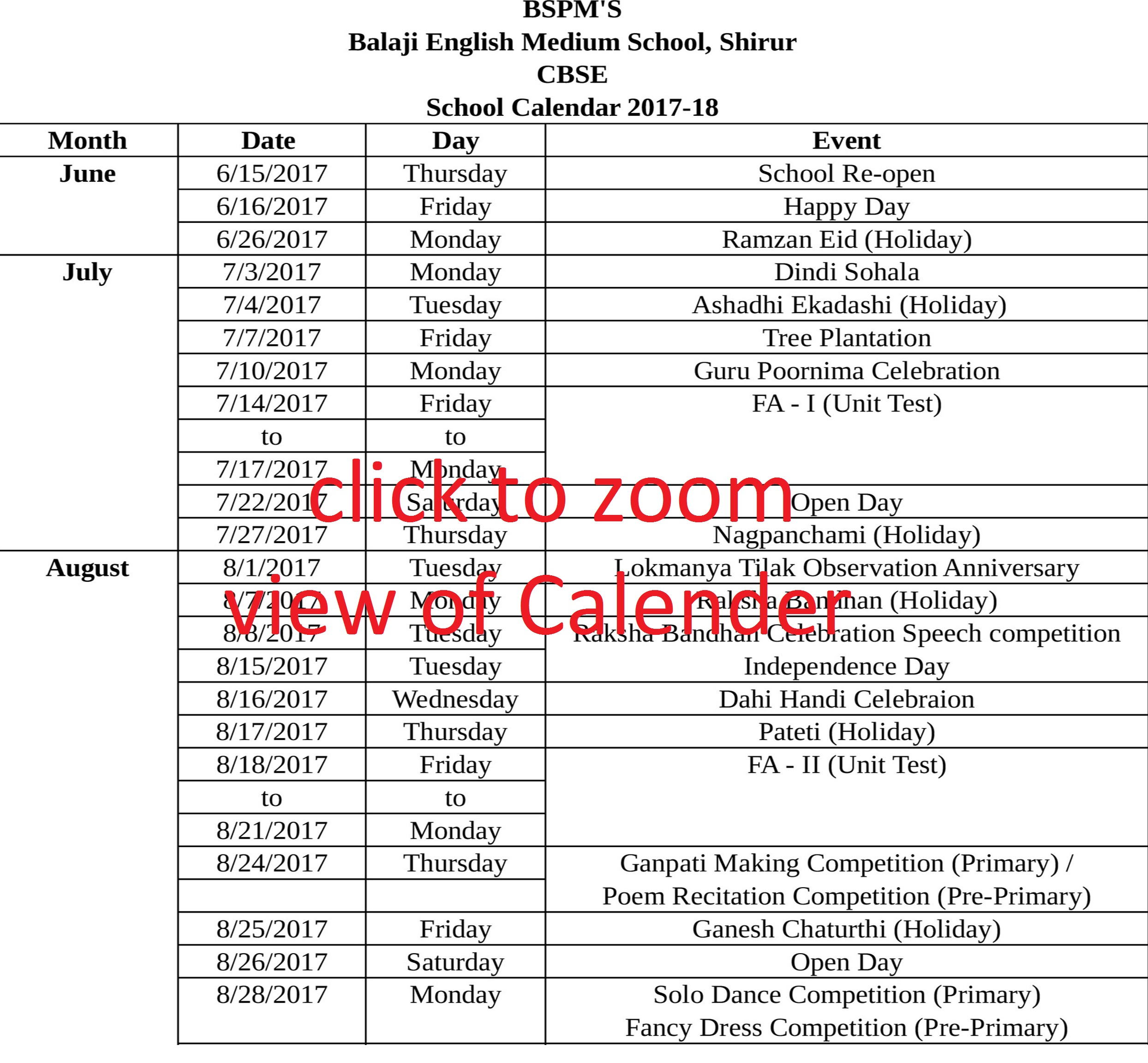 Balaji Shikshan Prasarak Mandal's English Medium School Calendar